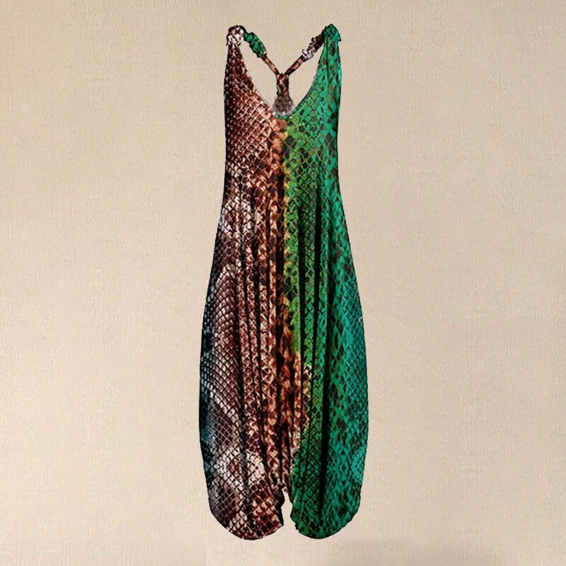 2020 Women Green & Orange Snake Racerback Harem Jumpsuit