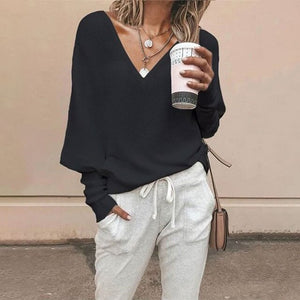 Women Casual Lantern Sleeve Pullover Off Shoulder V-neck Autumn T-shirt