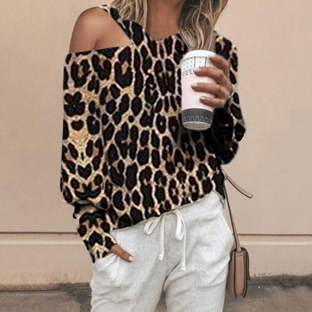 Women Casual Leopard Printed  Lantern Long Sleeve Off Shoulder Blouses