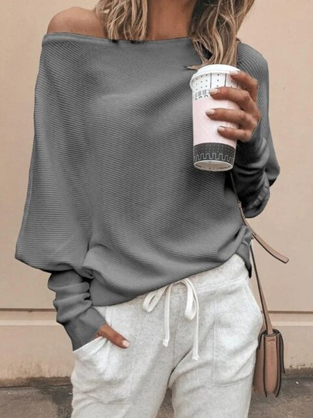 Women Autumn Vintage Knitted Off Shoulder Long Sleeve Pullover Blouse
