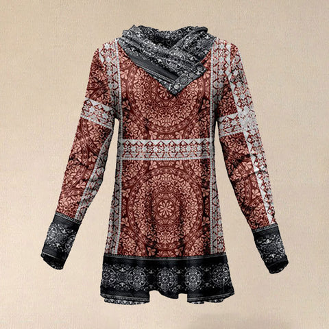 Women Autumn Vintage Red & Black Arabesque Button Shawl Collar Tunic T Shirt
