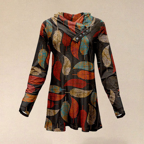 Women Vintage Brown & Orange Button Shawl Collar Tunic T Shirt