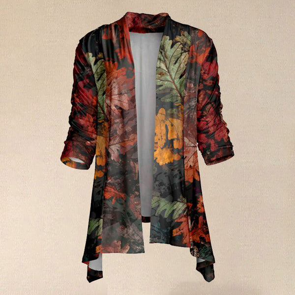 Women Autumn Red & Green Leaves Sidetail Open Cardigan
