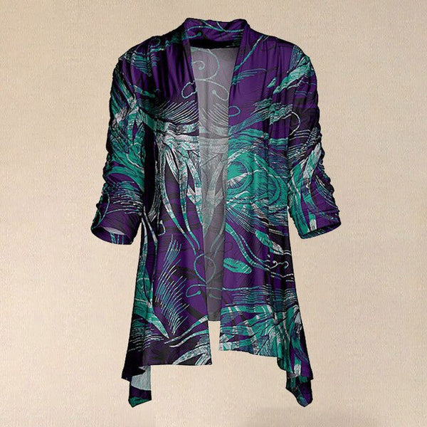 Women Vintage Purple & Green Peacock Feather Sidetail Open Cardigan