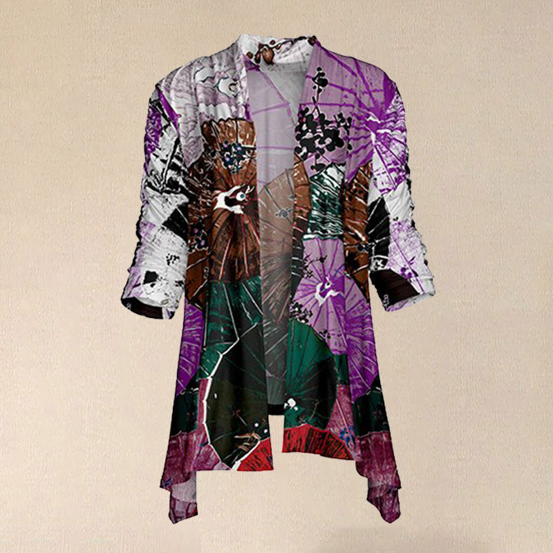 Women Vintage Purple & Gray Floral Web Abstract Sidetail Open Cardigan