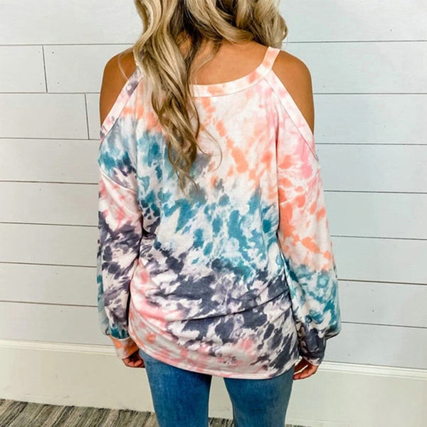 2020 Women Autumn Off Shoulder Long Sleeve Tie Dye Printed O-neck Tops