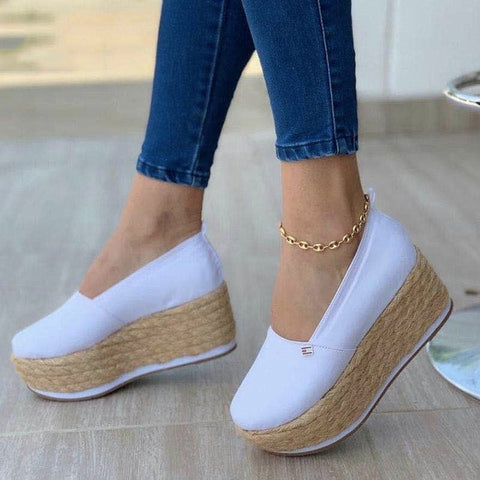 Summer Women Solid Thick Bottom Flat Shoes Sandals