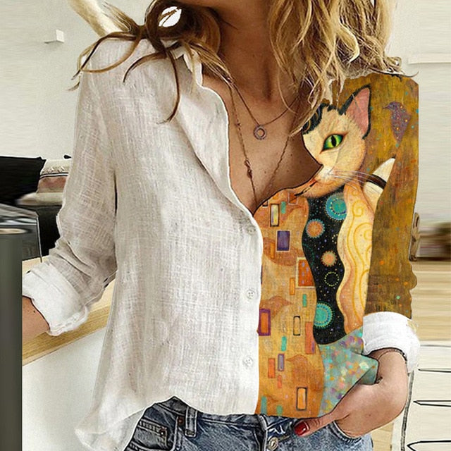 Elegant Print Turn-Down Collar Blouse Shirt