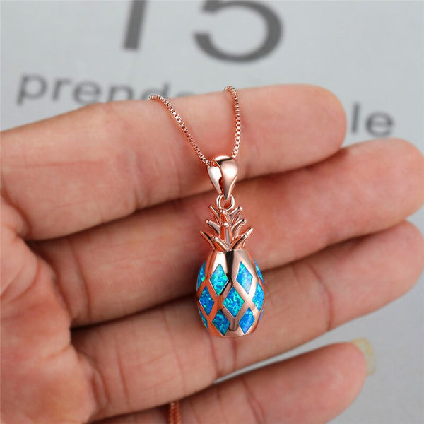 Cute Female Fruit Pineapple Pendant Necklace Rose Gold Silver Color Chain Necklaces