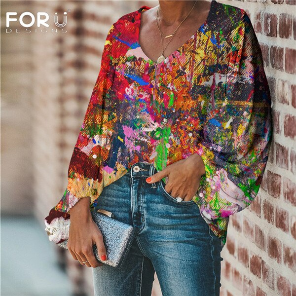 Women Fashion 3D Graffiti Design Chiffon Casual Tops