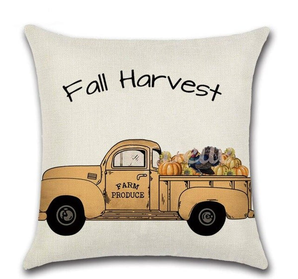 4 Pcs Thanksgiving Day Pumpkin Sofa Pillow Cases Cotton Linen Cushion Cover