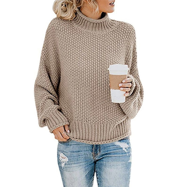 Women Turtleneck Long Sleeve Chunky Knitted Sweaters Pullover Jumper Tops