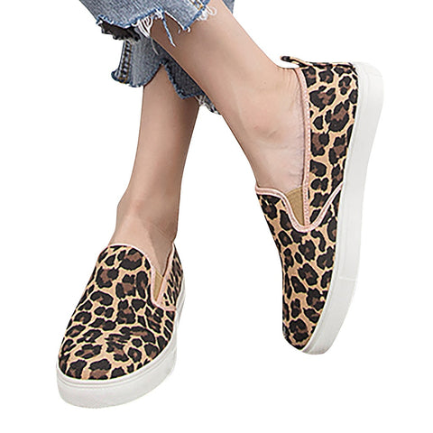 Women Casual Leopard Lazy Slip On Big Size Shoes
