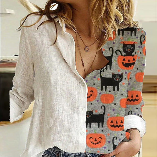 Elegant Print Turn-Down Collar Long Sleeve Blouse Shirt