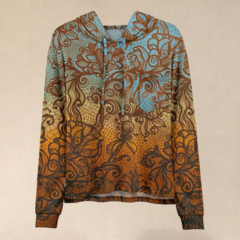 Women Gold & Blue Ombre Lace-Print Chest-Pocket Hoodie With Hooded