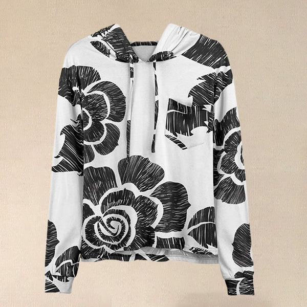 Women Black & White Floral Patch Pocket Hoodie With Hooded