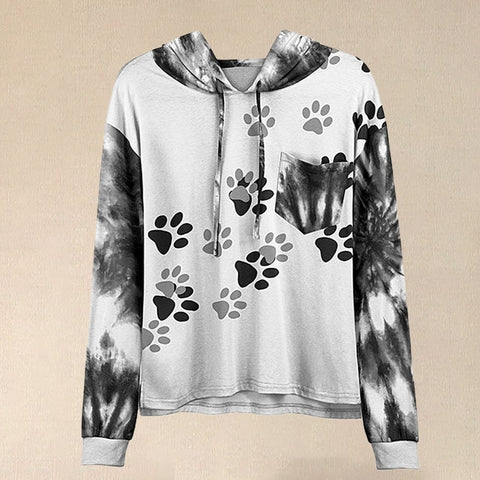 Women White & Black Paw Print Hoodie With Hooded