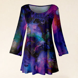 Purple & Pink Watercolor Long Sleeve Scoop Neck Tunic For Women