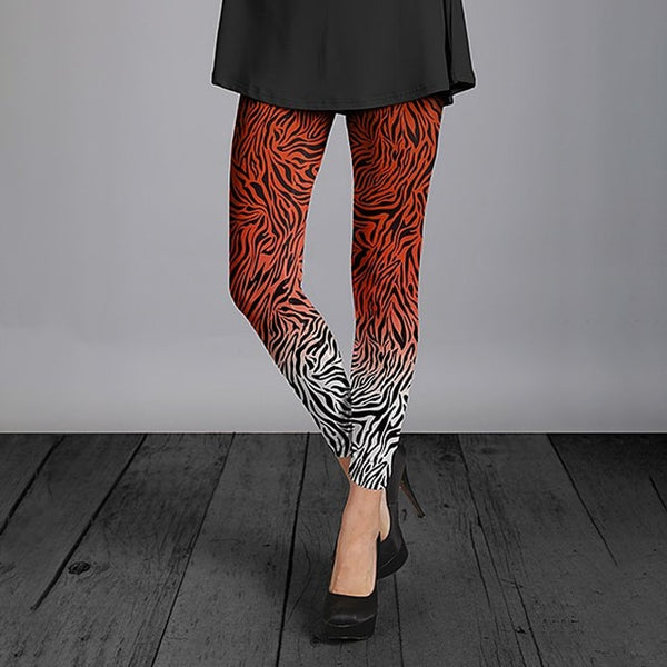 Orange & White Ombre Zebra Leggings For Women