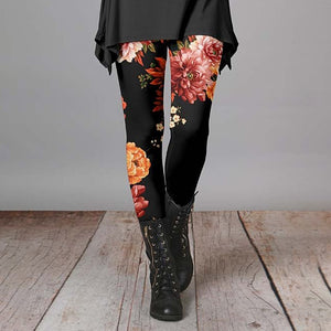 Black & Dusty Pink Floral Leggings For Women
