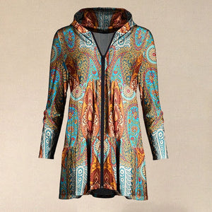 Orange & Turquoise Arabesque Tiered Zip-Up Hoodie Women Casual Printed Sweatshirt Zipped Jacket With Hooded