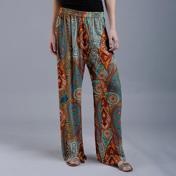 Rust & Green Arabesque Palazzo Pants Women Casual Printed Trousers
