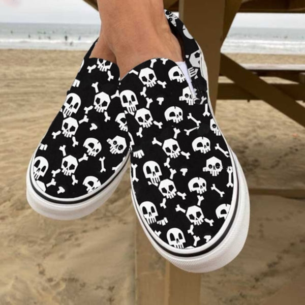 Halloween casual loafers women plus size canvas fabric flats shoes flat