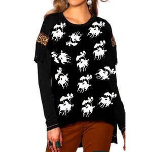 Women Horse Printed Casual Irregular Long Sleeve Harajuku Cotton Blended Tops
