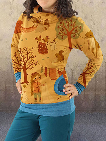Women Cartoon Animal Printed Long Sleeve Hoody Pullover Hoodies With Hooded