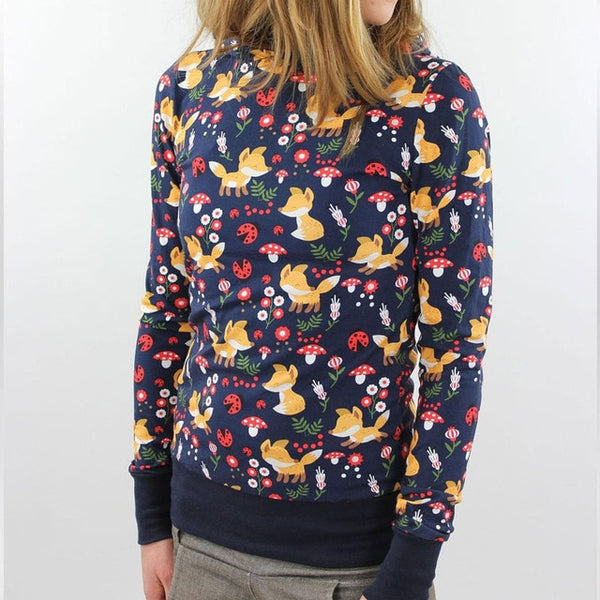 Women Cartoon Animal Foxes Flower Printed  Navy Blue Hoodie Long Sleeve Pullover Hoodies