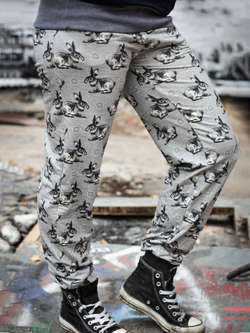 Women Rabbit  Printed Cozy Jogging Pants Casual Long Sports Trousers