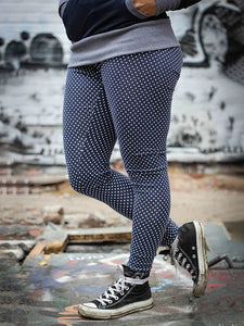Women Polka Dots Printed Cozy Jogging Leggings Pants Casual Navy Blue Long Sports Trousers