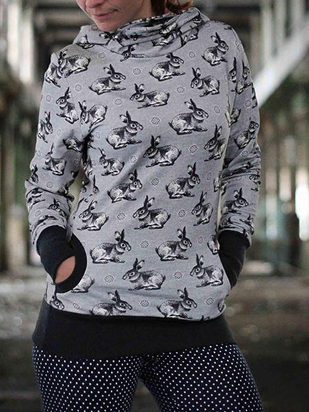Women Cartoon Animal Rabbit Printed  Gray Hoodie Sweatshirt Vintage Hoodies Long Sleeve Pullover Hoodies With Hooded