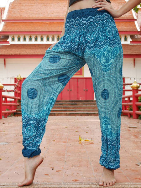 Green Rose Bohemian Outfits Loose Leg Boho Boutique Harem Gym Pants Workout Gypsy Trousers