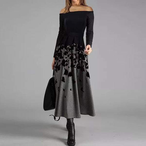 Casual Floral Off Shoulder Midi X-line Dress Autumn Black Patchwork Maxi Dress