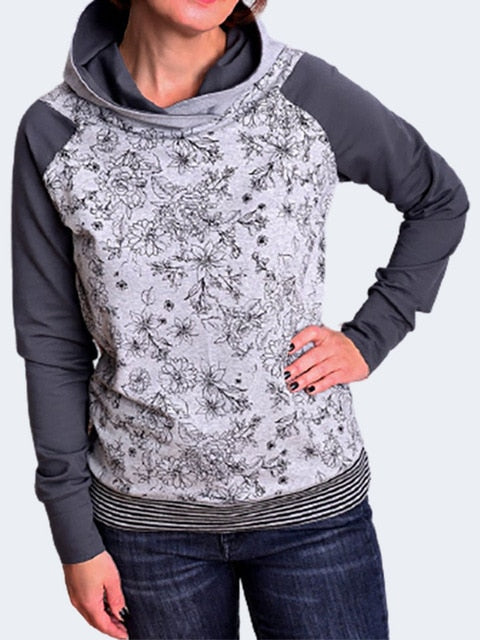 Women Gray Flowers Printed Hoodie Sweatshirt Vintage Patchwork Hoodies Long Sleeve Pullover Hoodies With Hooded