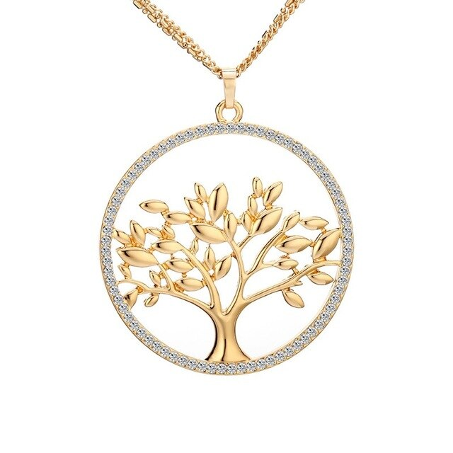 Big Crystal Tree Of Life Pendant Necklace