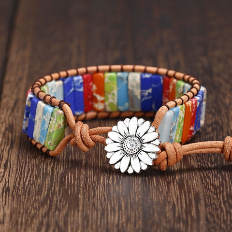 Multi Color Sea Sediment Chakra Handmade Natural Stone  Beads Leather Wrap Bracelet