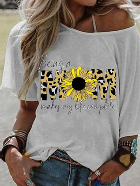 Women's Daily Basic Round Neck T-shirt - Geometric Sun Flower Blushing Pink