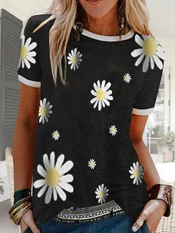 Women's Floral Daisy T-shirt Daily Black / Blue / Red / Green / Gray