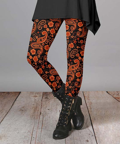 Women Fashion Orange & Black Paisley Leggings