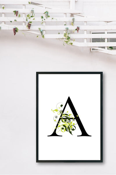 monogram wall art Letter Floral wreath ( 26 pages )