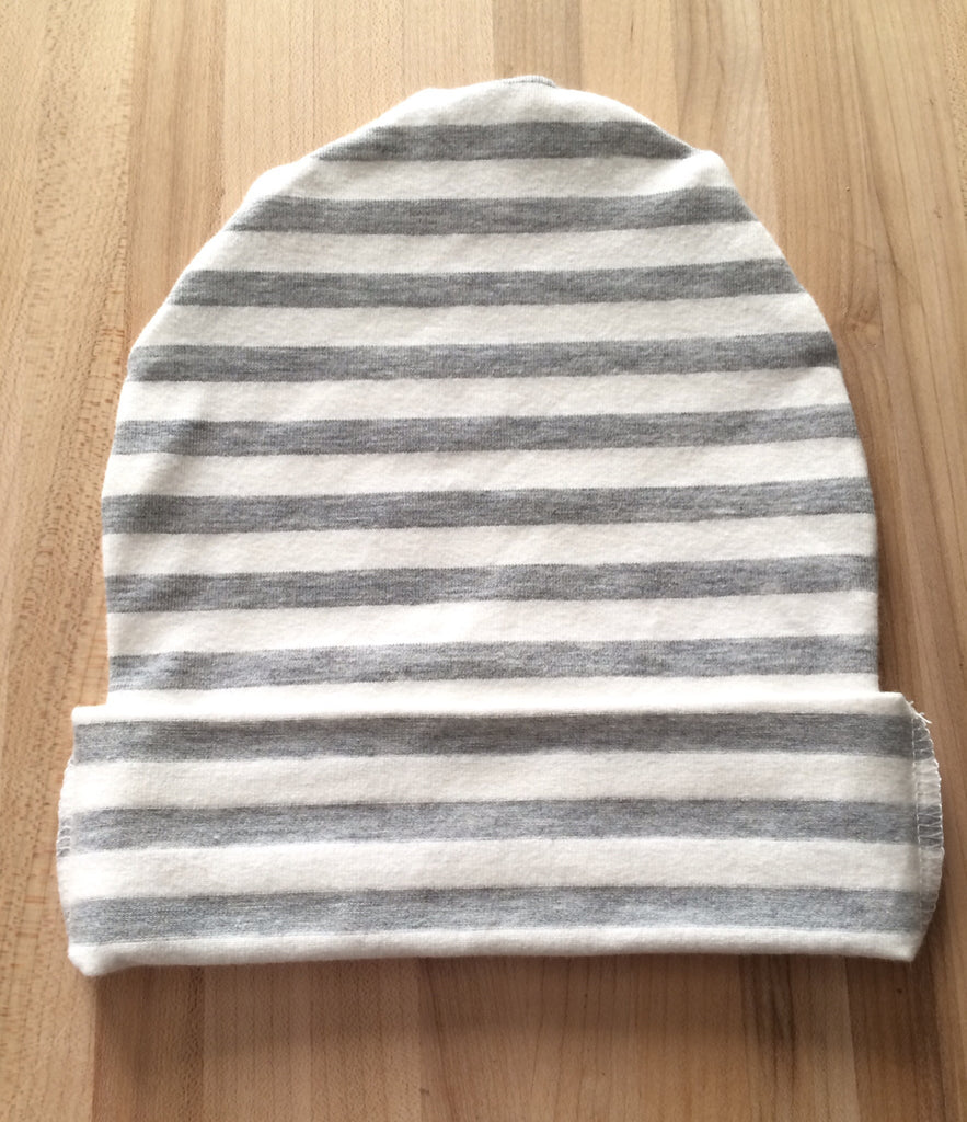 Gray and White Stripe Slouchy Beanie