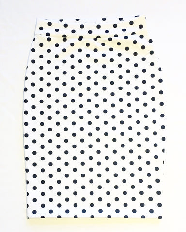 Women's White With Black Polka Dots Pencil Skirt