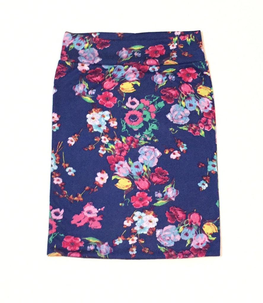 Blue Mixed Floral Pencil Skirt