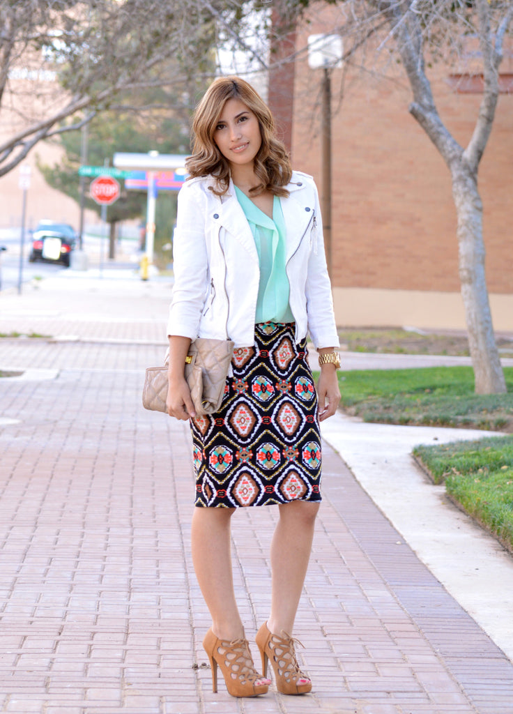 Women's Black Navajo Pencil Skirt