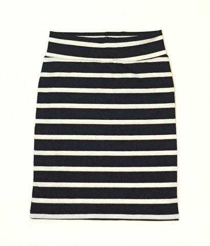 Women's Black and White Stripe Pencil Skirt