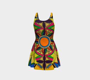 Sleeveless Colorful Print Flare Dress