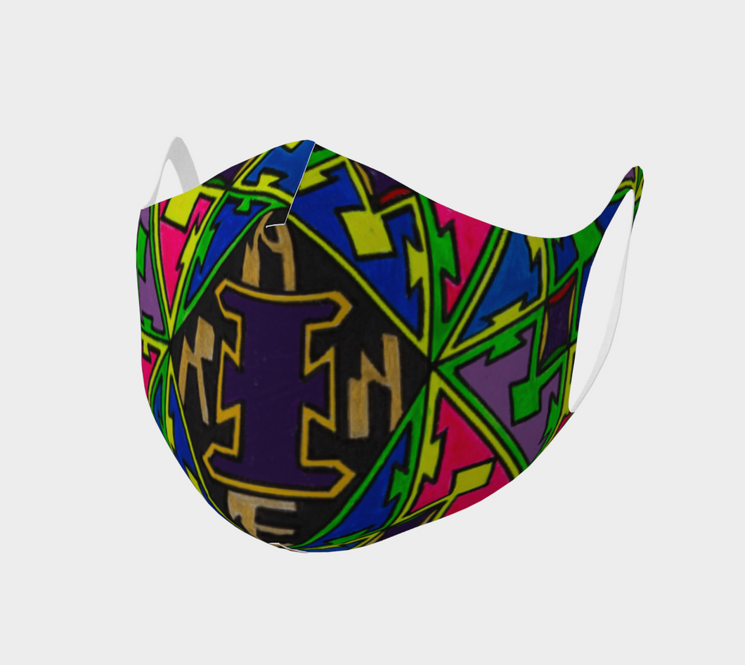 Reusable Double Knit Poly Face Mask -  Abstract Print Design