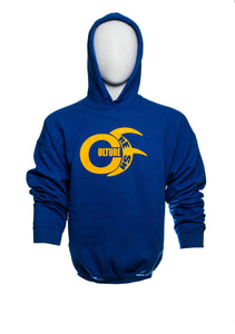 Fleece Hoody Long Sleeve Sweater, in Blue, Red and Black, with Large Gold Culturefresh Logo to Chest. Sizes 2XL, XL, L, M, S.